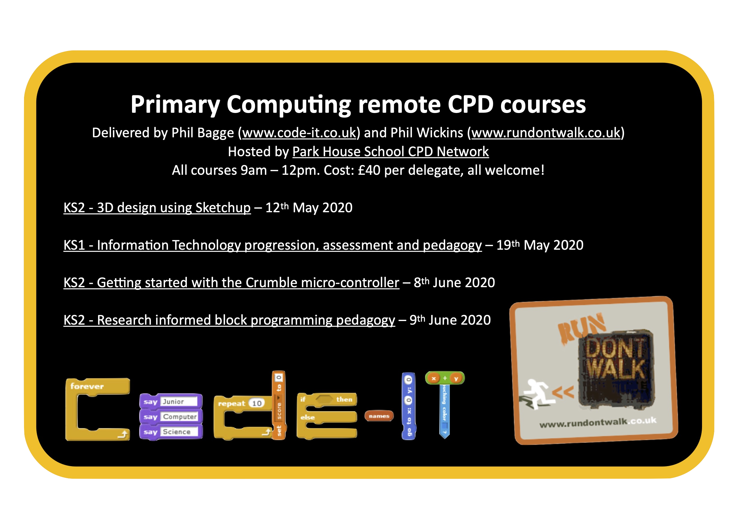 Primary Computing remote CPD courses